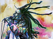 Dreadlocks Prints - Bob Marley Singing Portrait.1 Print by Fabrizio Cassetta