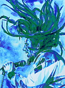 Picture Paintings - Bob Marley Singing Portrait.2 by Fabrizio Cassetta