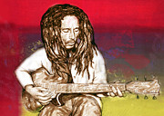 Bob Marley Abstract Prints - Bob Marley - stylised drawing art poster Print by Kim Wang