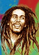 Featured Mixed Media - Bob Marley stylised pop art drawing potrait poser by Kim Wang