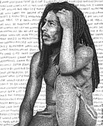 Icon  Drawings Originals - Bob Marley by Timothy Glasby