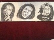 Pencil On Canvas Prints - Bob marley tribute Print by Neil Nderhill