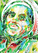 Dreadlocks Prints - Bob Marley Watercolor Portrait.2 Print by Fabrizio Cassetta