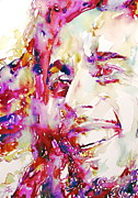 Dreadlocks Prints - Bob Marley Watercolor Portrait.4 Print by Fabrizio Cassetta
