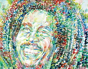 Dreads Framed Prints - Bob Marley Watercolor Portrait.5 Framed Print by Fabrizio Cassetta