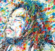 Zion Painting Prints - BOB MARLEY - watercolor portrait.6 Print by Fabrizio Cassetta
