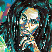 Reggae Paintings - Bob Marley Watercolor Portrait.7 by Fabrizio Cassetta