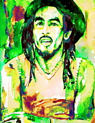 Dreads Framed Prints - Bob Marley Watercolor Portrait.9 Framed Print by Fabrizio Cassetta