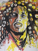 Famous People Painting Originals - Bob Marley..Close Up by Chrisann Ellis