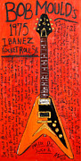 Guitars Paintings - Bob Mould Ibanez Rocket Roll Senior by Karl Haglund