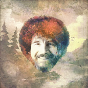 Curly Hair Prints - Bob Ross Print by Filippo B