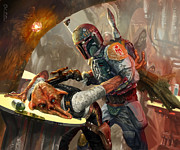 Wars Digital Art Posters - Boba Fett - Star Wars the Card Game Poster by Ryan Barger
