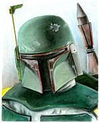Helmet Pastels Framed Prints - Boba Fett Framed Print by Jason Axtell
