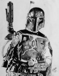 Star Drawings Posters - Boba Fett Poster by Jeremy Moore