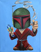 Boba Fett Paintings - Boba Hef by Chris  Leon