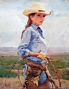 Cowgirl Prints Paintings - Bobbi Jeen by Toyah Taylor