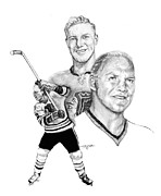 League Drawings Prints - Bobby Hull - Ageless Print by Jerry Tibstra