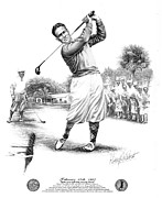 Athlete Drawings Posters - Bobby Jones at Sarasota - black on white Poster by Harry West