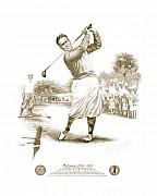 Athlete Drawings Posters - Bobby Jones at Sarasota - Sepia Poster by Harry West