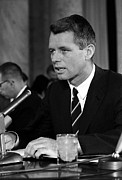 Bobby Kennedy Framed Prints - Bobby Kennedy Speaking Before The Senate Framed Print by War Is Hell Store