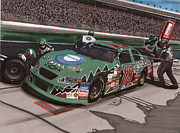 Crowd Mixed Media Prints - Bobby Labonte Pit Stop Print by Paul Kuras