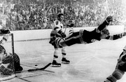 Boston Bruins Prints - Bobby Orr Goal Celebration Print by Sanely Great