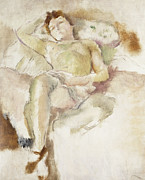 Mid Adult Framed Prints - Bobette Lying Down Bobette Allongee Framed Print by Jules Pascin