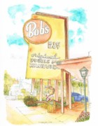 Coffee Paintings - Bobs Big Boy in Burbank - California by Carlos G Groppa