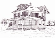 Technical Drawings Drawings Prints - Bobs Grandparents House Print by Michelle Welles
