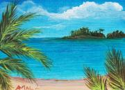 Caribbean Drawings Prints - Boca Chica Beach Print by Anastasiya Malakhova