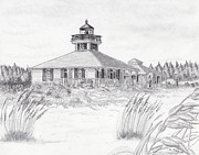 Grande Drawings Framed Prints - Boca Grande Lighthouse in Pencil Framed Print by Lyle Polyak