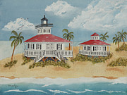 Grande Painting Framed Prints - Boca Grande Lighthouse Framed Print by John Edebohls