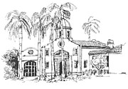 Hall Drawings Framed Prints - Boca Raton City Hall Building  Framed Print by Robert Birkenes
