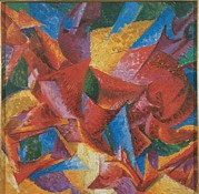 Canvas  Squares Prints - Boccioni Umberto, Plastic Forms Print by Everett