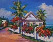 Puerto Rico Paintings - Bodden Town Cottage by John Clark