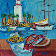 Featured Originals - Bodegon con el faro de Malaga detras by Catalin ILINCA