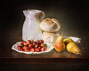 Luis Metal Prints - Bodegon with Cherries-Pears-White Jar Metal Print by Levin Rodriguez