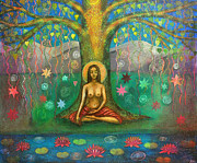 Yoga Painting Prints - Bodhi Tree Print by Alice Mason