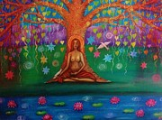 Bodhi Tree Art - Bodhi Tree and Birds by Alice Mason