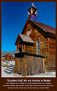 Old Town Digital Art Framed Prints - Bodie Ghost Town Church Framed Print by Barbara Snyder