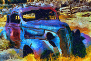 Wreck Prints - Bodie Ghost Town Plymouth Print by Barbara Snyder