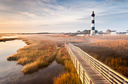 Bodie Island Lighthouse Framed Prints - Bodie Island Lighthouse Autumn Radiant Fog Boardwalk Framed Print by Mark VanDyke