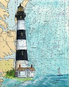 Map Art Painting Posters - Bodie Island Lighthouse NC Nautical Chart Map Art Cathy Peek Poster by Cathy Peek