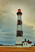 Storm Prints Posters - Bodie Lighthouse Outer Banks Abstract Painting Poster by Dan Carmichael