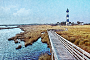 Acrylic Seascape Digital Art Posters - Bodie Lighthouse Outer Banks North Carolina II Poster by Dan Carmichael