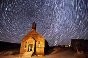 Ghost Town Metal Prints - Bodie Star Trails Metal Print by Cat Connor