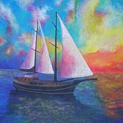 Masted Paintings - Bodrum Gulet Cruise by Tracey Harrington-Simpson