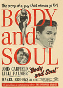Films Drawings Framed Prints - Body And Soul 1947 1940s Uk John Framed Print by The Advertising Archives