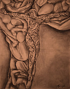 Religious Artist Drawings Metal Prints - Body Fractal Metal Print by Alyssa Kerr