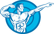 Bodybuilder Flexing Muscles Pointing Side Retro Print by Aloysius Patrimonio